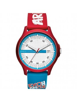 ARMANI EXCHANGE MATT RED ALUMINUM WATCH AND BLUE AND RED SILICONE STRAP