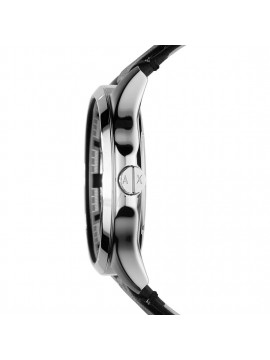 ARMANI EXCHANGE STAINLESS STEEL WATCH AND BLACK LEATHER STRAP