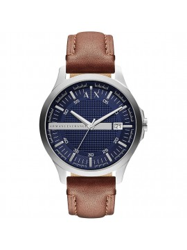 ARMANI EXCHANGE HAMPTON STAINLESS STEEL WATCH AND BROWN LEATHER STRAP