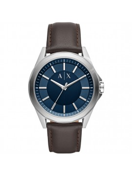 ARMANI EXCHANGE DREXLER STAINLESS STEEL WATCH AND BROWN LEATHER STRAP