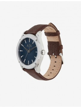 ARMANI EXCHANGE STAINLESS STEEL WATCH AND BROWN LEATHER STRAP