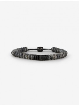 ARMANI EXCHANGE MEN'S BRACELET WITH SEMIPRECIOUS GRAY BEADS AND DETAIL IN BLACK STAINLESS STEEL