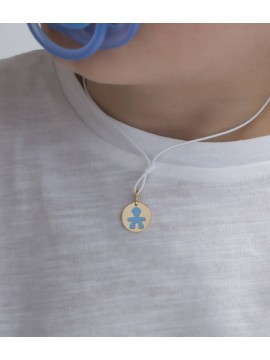 LE BEBÈ CLASSIC CHILD PENDANT IN YELLOW GOLD AND BLUE ENAMEL