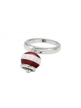 CHANTECLER BELL RING MICRO DOLCE VITA CAPRINESS IN SILVER AND WHITE AND RED ENAMEL