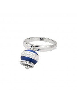 CHANTECLER BELL RING MICRO DOLCE VITA CAPRINESS IN SILVER AND WHITE AND BLUE ENAMEL