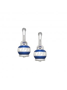 CHANTECLER EARRINGS BELL MICRO DOLCE VITA CAPRINESS IN SILVER AND WHITE AND BLUE ENAMEL