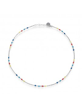 CHANTECLER CAPRINESS NECKLACE IN SILVER AND ENAMEL YELLOW RED LIGHT BLUE BLUE - 42 CM