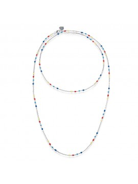 CHANTECLER NECKLACE CAPRINESS IN SILVER AND ENAMEL YELLOW RED LIGHT BLUE BLUE - 90 CM