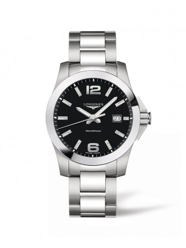LONGINES CONQUEST WATCH IN STAINLESS STEEL AND BLACK DIAL