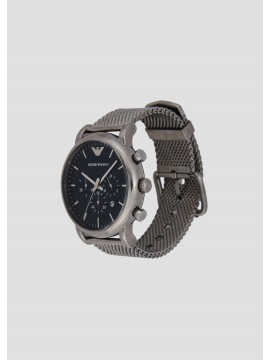 EMPORIO ARMANI LUIGI CHRONOGRAPH WATCH IN STAINLESS STEEL GUN BARREL AND BLUE DIAL