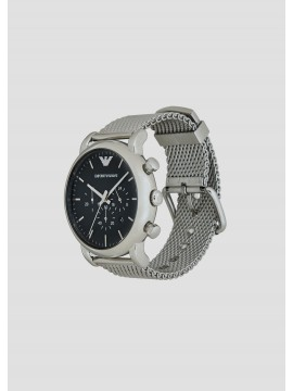 EMPORIO ARMANI LUIGI CHRONOGRAPH WATCH IN STAINLESS STEEL SILVER TONE WITH BLACK DIAL