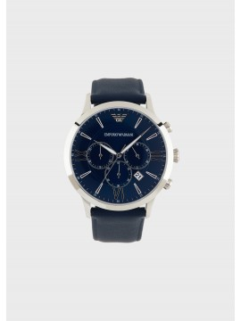 EMPORIO ARMANI GIOVANNI CHRONOGRAPH WATCH IN STAINLESS STEEL AND BLUE LEATHER STRAP