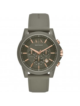 ARMANI EXCHANGE CHRONOGRAPH WATCH IN GREEN NYLON AND SILICONE STRAP