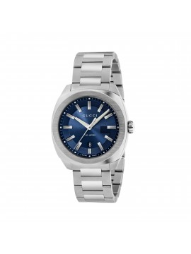 GUCCI GG2570 WATCH IN STEEL AND BLUE BRUSHED DIAL