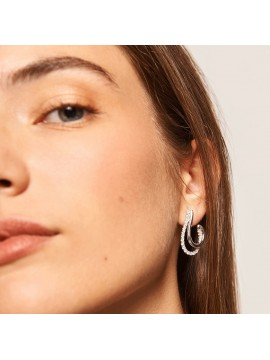PDPAOLA KOY EARRINGS IN SILVER PLATED RHODIUM-PLATED SILVER WITH WHITE ZIRCONIA