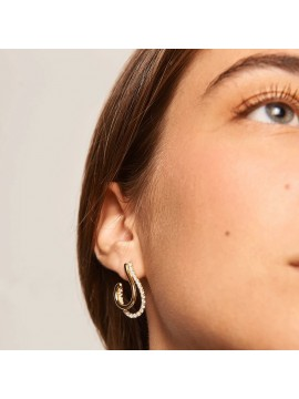 PDPAOLA KOY EARRINGS IN YELLOW GOLD PLATED SILVER WITH WHITE ZIRCONIA
