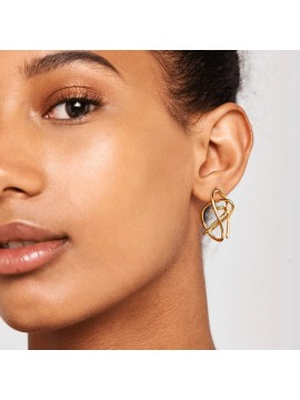 PDPAOLA ESHA EARRINGS IN SILVER PLATED YELLOW GOLD 18 k