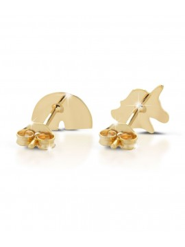LE BEBÈ EARRINGS WITH UNICORN AND RAINBOW IN YELLOW GOLD WITH COLORED ENAMEL