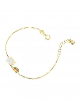LE BEBÈ BRACELET WITH UNICORN AND RAINBOW IN YELLOW GOLD WITH COLORED ENAMEL
