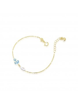 LE BEBÈ BRACELET WITH ANCHOR AND BOAT IN YELLOW GOLD WITH COLORED ENAMEL