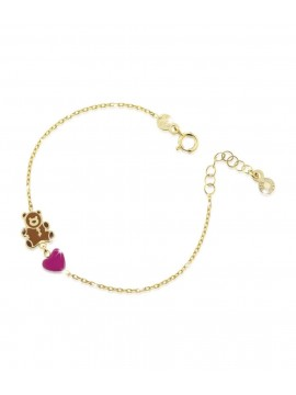 LE BEBÈ BRACELET WITH TEDDY BEAR AND HEART IN YELLOW GOLD WITH COLORED ENAMEL
