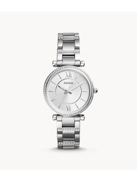 FOSSIL CARLIE WOMAN WATCH WITH THREE SPHERES IN STAINLESS STEEL AND RHINESTONES