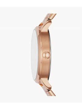 FOSSIL LEXIE LUTHER WOMEN'S WATCH THREE HANDS I STEEL ROSE GOLD TONE