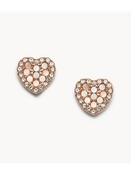FOSSIL VINTAGE GLITZ HEART SHAPED MOSAIC EARRINGS IN STEEL ROSE GOLD AND RHINESTONE