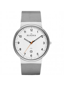 SKAGEN ANCHER WATCH IN STAINLESS STEEL WITH WHITE DIAL AND MESH BRACELET