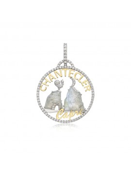 CHANTECLER SMALL LOGO PENDANT MOONLIGHT IN 18K WHITE AND YELLOW GOLD DIAMONDS AND LABRADORITE