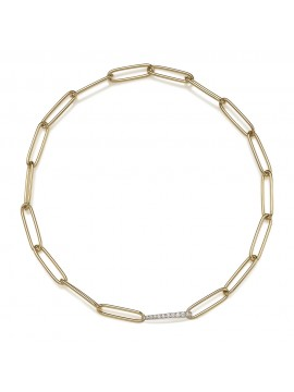 CHANTECLER LOGO NECKLACE WITH OVAL LINKS IN 18 KT YELLOW AND WHITE GOLD AND WHITE DIAMONDS