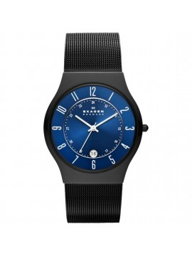 SKAGEN GRENEN BLACK TONE TITANIUM WATCH WITH BLUE DIAL AND MESH BRACELET