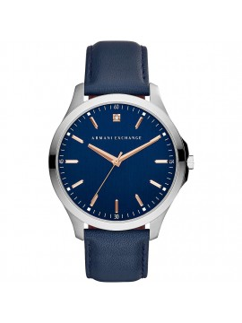 ARMANI EXCHANGE HAMPTON WATCH IN STAINLESS STEEL WITH BLUE DIAL AND BLUE LEATHER STRAP