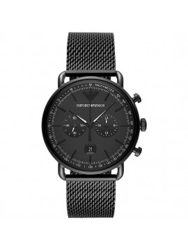 ARMANI EXCHANGE AVIATOR CHRONOGRAPH WATCH IN BLACK PVD STEEL WITH BLACK DIAL AND MESH BRACELET