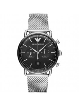 EMPORIO ARMANI AVIATOR CHRONOGRAPH WATCH IN STAINLESS STEEL WITH BLACK DIAL AND MESH BRACELET