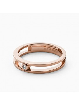 SKAGEN ELIN RING IN STEEL PVD ROSE GOLD AND ZIRCON
