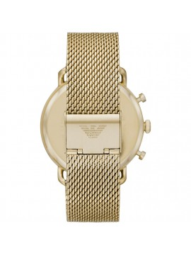 EMPORIO ARMANI AVIATOR CHRONOGRAPH WATCH IN PVD STEEL YELLOW GOLD WITH BLACK DIAL AND MESH BRACELET