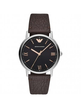 EMPORIO ARMANI KAPPA WATCH IN STAINLESS STEEL WITH BLACK DIAL AND BROWN LEATHER STRAP
