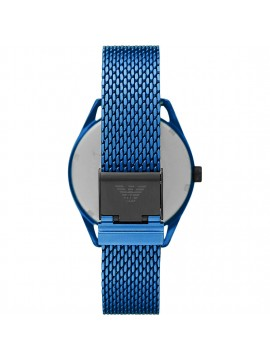 EMPORIO ARMANI MATTEO ALUMINUM WATCH WITH MATT BLUE FINISH WITH CHANGING DIAL AND MESH BRACELET