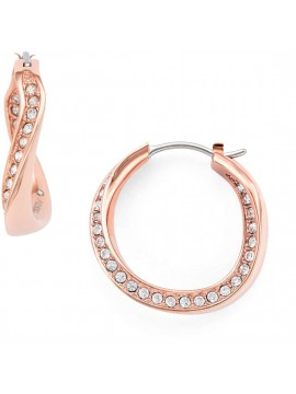 FOSSIL CLASSIC EARRINGS IN STEEL, ROSE GOLD AND RHINESTONES