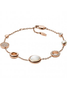 FOSSIL CLASSICS WOMEN'S BRACELET IN ROSE GOLD SHADED STEEL WITH MOTHER OF PEARL AND RHINESTONES